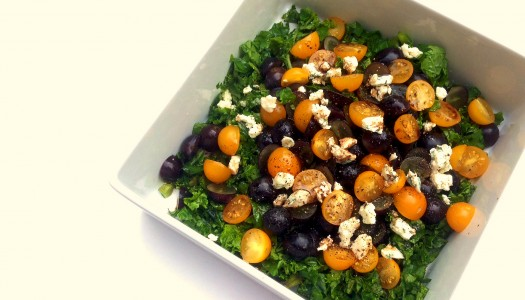 Kale Salad With Concord Grapes and Yellow Grape Tomatoes. Oh, yeah.