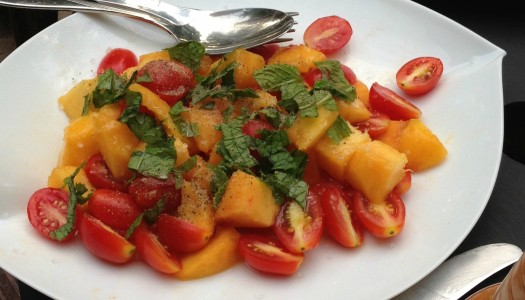 Deliciously Simple Sweet Peach And Tomato Salad